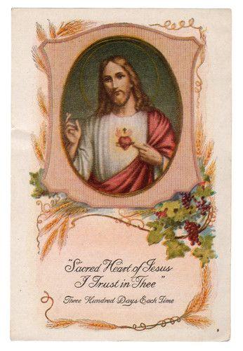 Sacred Heart of Jesus Vintage Holy Card | eBay