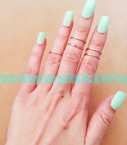 5pcs SET Urban Gold Silver Stack Plain Above Knuckle Ring Band MIDI Ring 3 Color   eBay