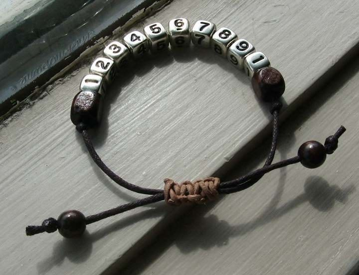 Knotted Phone Number Bracelet B006. $12.00, via Etsy.