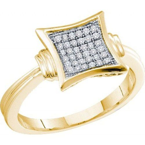 Women's White Diamond 0.10CTW 10K Yellow Gold Fashion Ring GND52640-W8.5 | Sparkly Things Jewelry