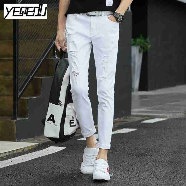 #2822 2017 Summer Black/white pants women Vintage Skinny Ankle-length Stretch Casual Harajuku Mens joggers With hole #Affiliate