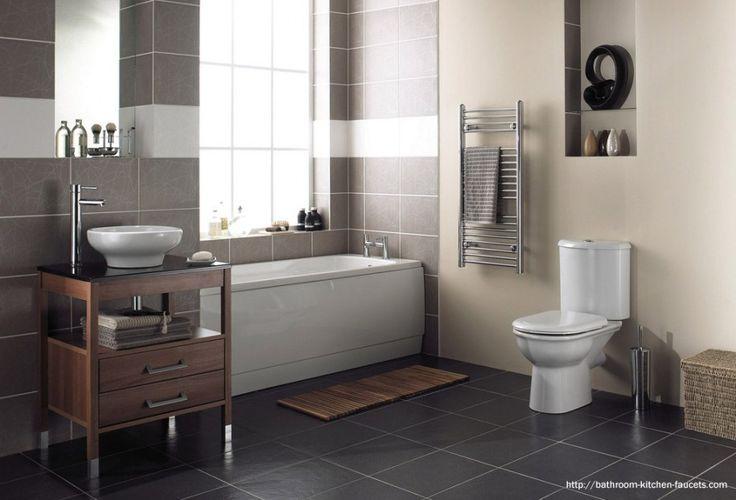 Minimalist Bathroom Remodeling Ideas With White Bathtub Near Brown Tile Pattern And Teak Wood Small Vanity Feat Black Granite Vanity Top And...