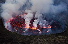 When volcano's erupt the lava runs down the side of it and it falls into a crater and gets filled with lava and it looks like a lava lake. -- Patrick Spann