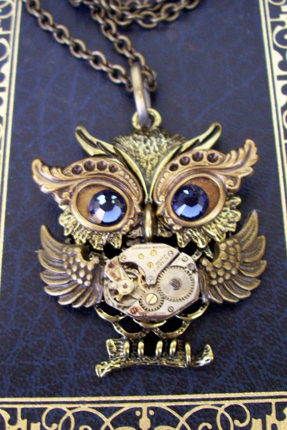 Steampunk Necklace N131 Owl Pendant Dame by DesignsByFriston, $28.00 (I want this as a tattoo)