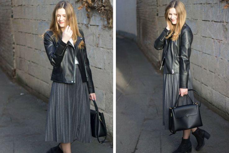 Outfit: Lederjacke, Plisseerock & Fishtights - coeurdelisa