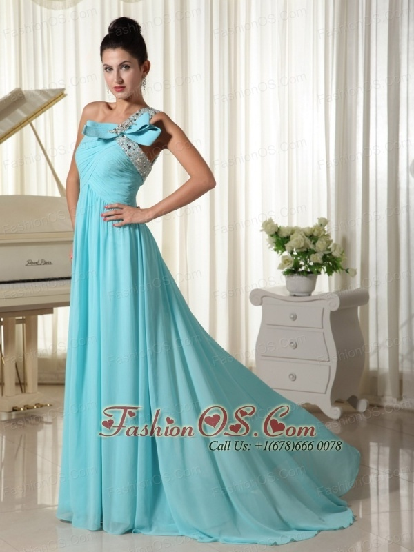 Beaded Decorate One Shoulder With Ruched Bodice Inexpensive Prom Dress- $129.46  www.fashionos.com   cheap prom dress under 150 | free shipping all over the world | cheap plus size 2013 prom homecoming gowns | 2013 junior prom pageant dress | inexpensive prom dress | custom made prom dresses | fitted and sexy dress | flowing dancing dress | strapless prom dress |