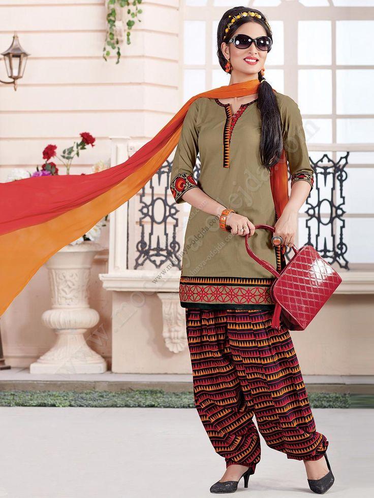 Камис (камиз) цвета хаки   разноцветные брюки фасона патиала   дупатта