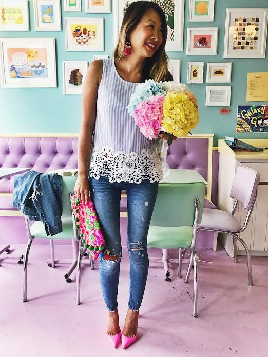 lace top, blue stripe top, outfit of the day, fashion blogger, spring outfit, summer outfit, lace shirts, stripe shirts, pom pom clutch, pom pom bag, embroidered pom pom bag, how to style your jeans, how to style your pink shoes, what to wear, style of th