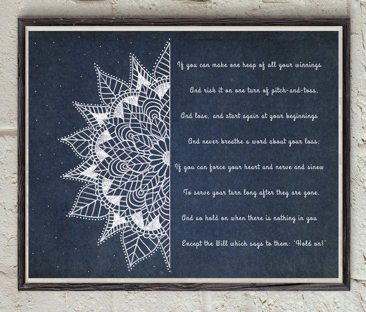 If Poem - Rudyard Kipling - Third Verse - Mandala Art - Digital Download Art - Poetry Print - Mandala Poster - Poem Home Decor by Lepetitchaperon on Etsy