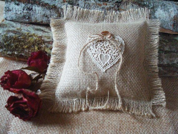 Rustic Wedding Ring Bearer Pillow made of natural by MilaStyle, $20.00