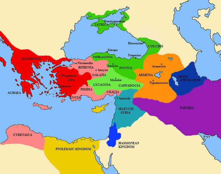 A map of the Middle east Greece