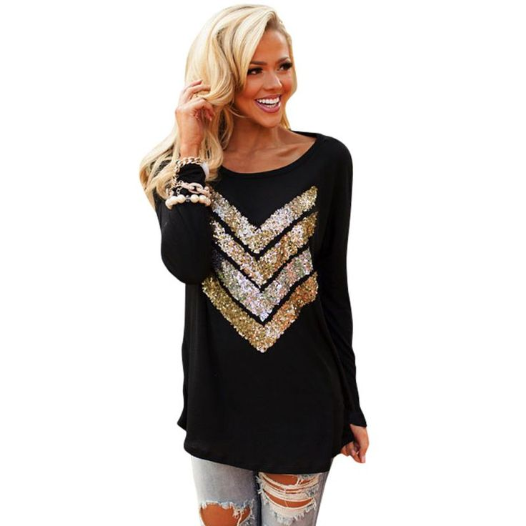 Women Autumn Sparkle Sequins Arrow Top Casual Long Sleeve Loose Shirt Outerwear Sweatshirt #Affiliate