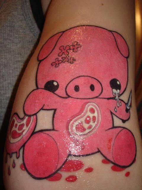 Pink Pig With Knife Color Ink Tattoo