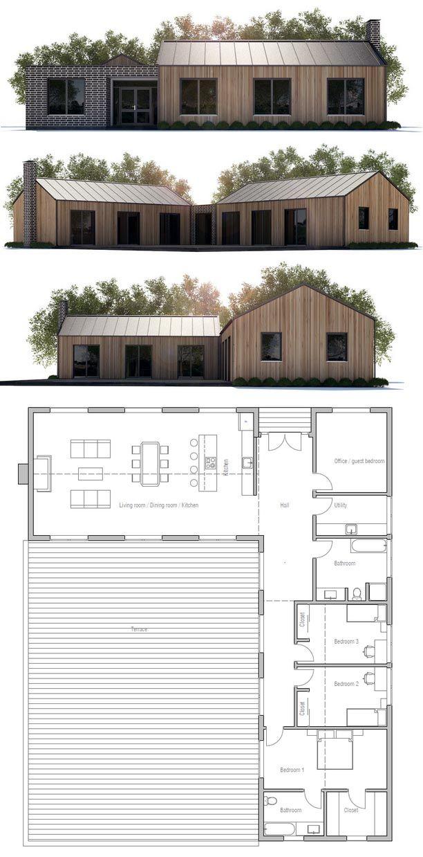 Plan de maison maisons minimalistes pinterest house for Barn shaped house plans