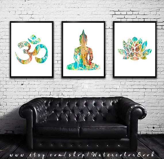 in white frames - Buy 2 Get 1 FREE!!! Special offer, Yoga Watercolor Print, Home Decor, Buddha  watercolor, Buddha art, Om Symbol Yoga art