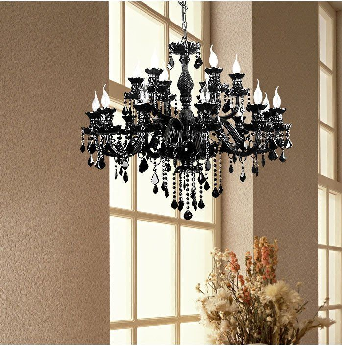 Crystal Chandeliers at factory direct prices black color Custom Chandeliers Italian Murano style $318.00