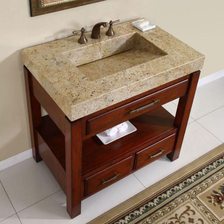 Images On Silkroad Exclusive Kashmir Gold Granite Top Single Stone Sink Bathroom Vanity Overstock Shopping Great Deals on Silkroad Exclusive Bathroom Vanities