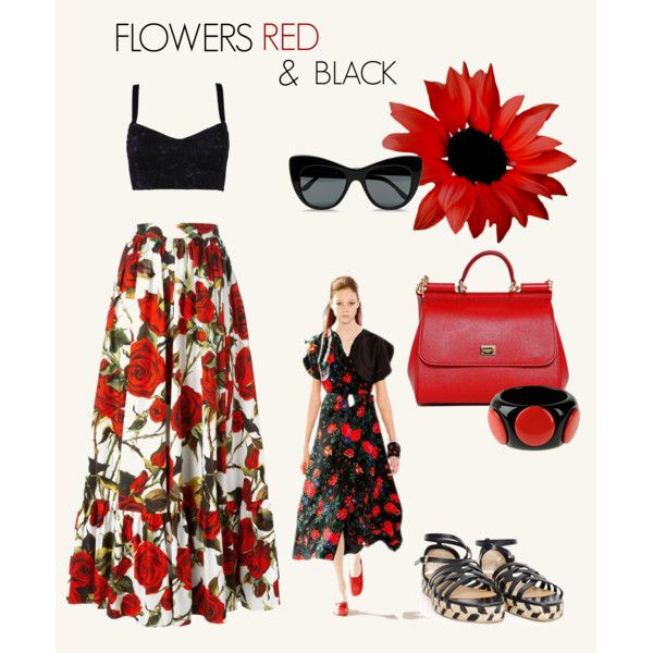 Flowers Black&Red by spinnaker-sanremo-alassio-portofino on Polyvore featuring moda, Dolce&Gabbana, First People First, STELLA McCARTNEY and Castañer