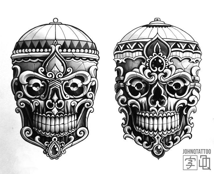 Kapala Sketch still up for grabs.   Japanese tibetan skull tibetanskull tattoo japanesetattoo sketch johnqtattoo stockholmtattoo