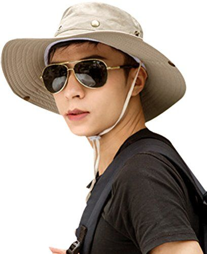 Men Fishing Hat Beach Sun Hat Outdoor Mesh Sun Hat Camouflage Bucket Hats Fishing Hats with String -- Check out this great product.