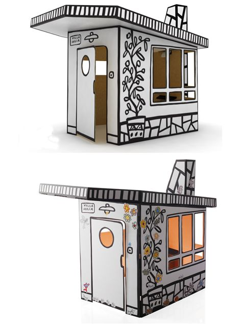 Villa Julia Cardboard Play House, designed by Javier Mariscal for Magis - cardboard playhouse to color