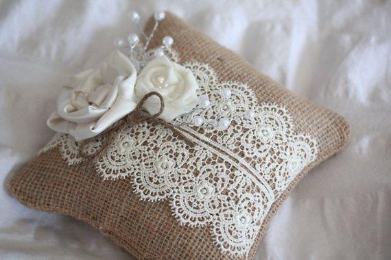 Rustic Burlap Ring Bearer Pillow Ring Bearer Pillows