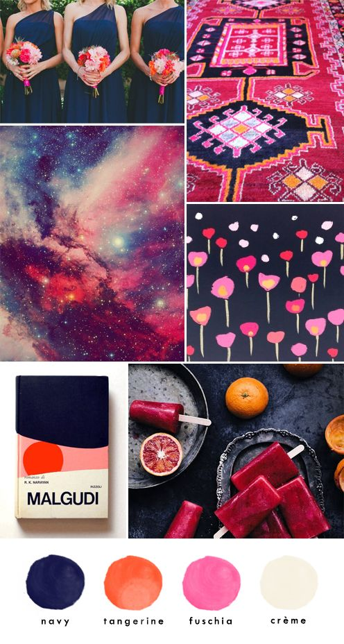 bridesmaids // aztec rug // dreamy sky //  floral card // malgudi bookcover // berry ice pops A hint of summer vibrance brought back down to earth with with a deep navy. This colour combo is the de...
