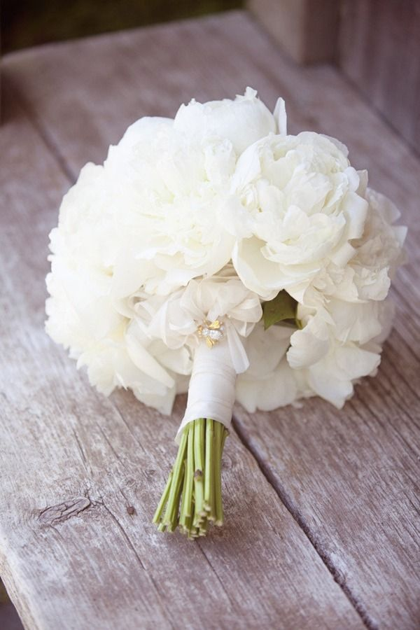 white bouquet with bee brooch.