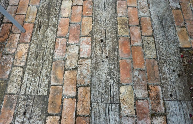 Paving from recycled timber and bricks