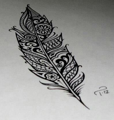 Plume arabesque #feather #tatoo design