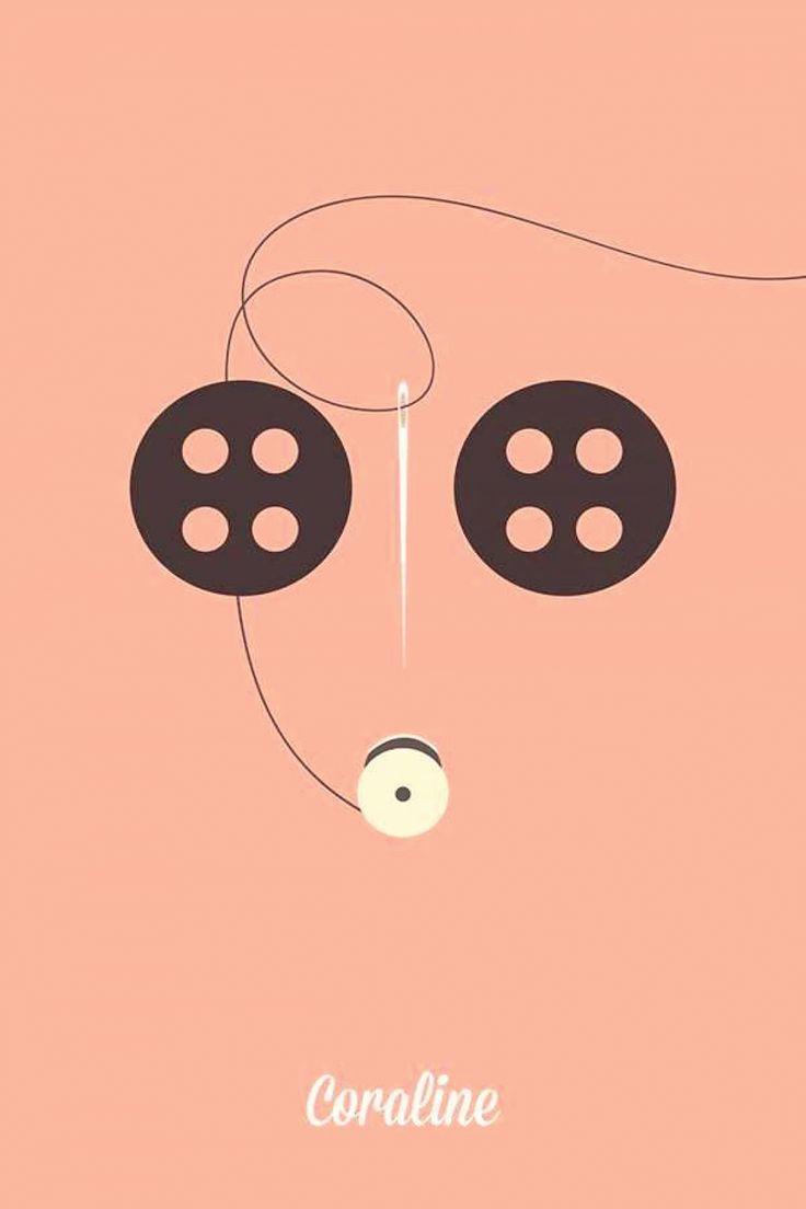 Coraline 2009 minimal movie poster by angela skinner