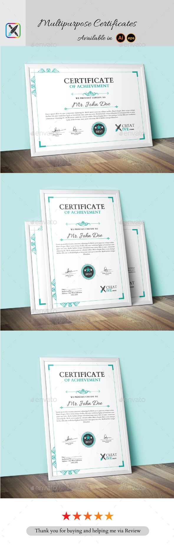 Multipurpose Certificate Template Vector EPS, AI Illustrator. Download here: https://graphicriver.net/item/multipurpose-certificate/16862193?ref=ksioks