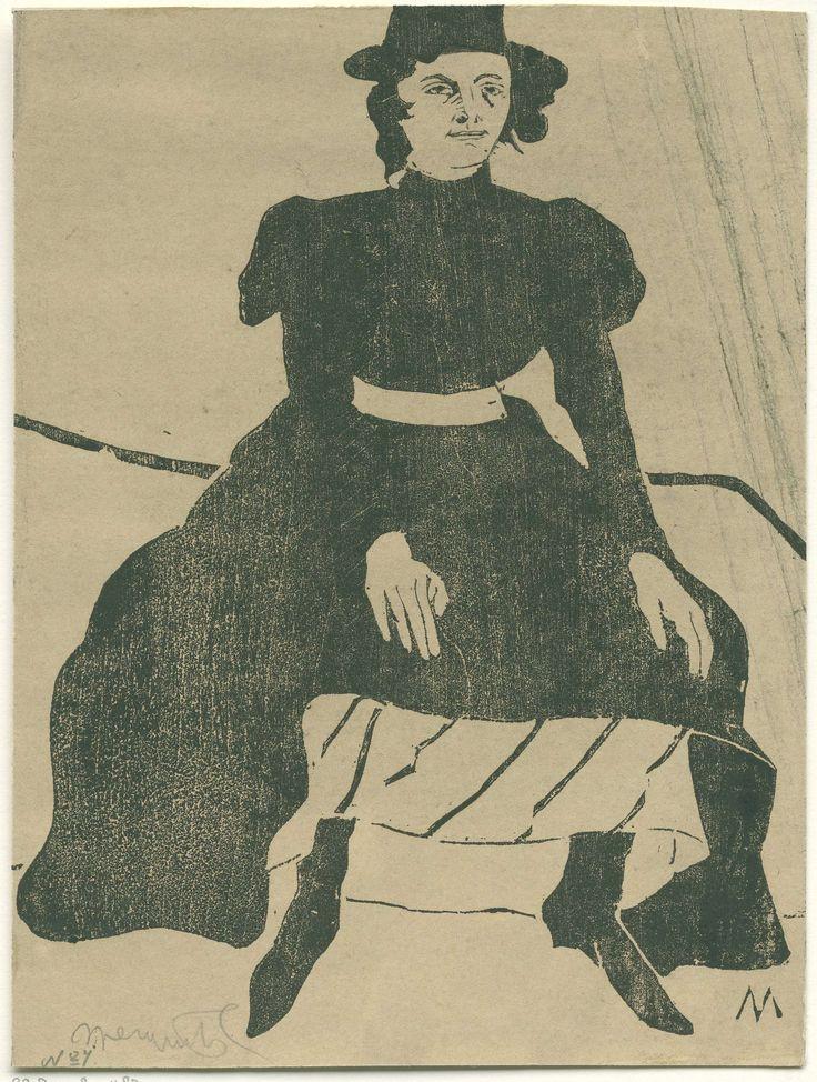 Samuel Jessurun de Mesquita | Zittende vrouw met hoed en in zwarte jurk, de handen op de knieën, Samuel Jessurun de Mesquita, c. 1899 | Zittende vrouw met hoed en in zwarte jurk, de handen op de knieën.