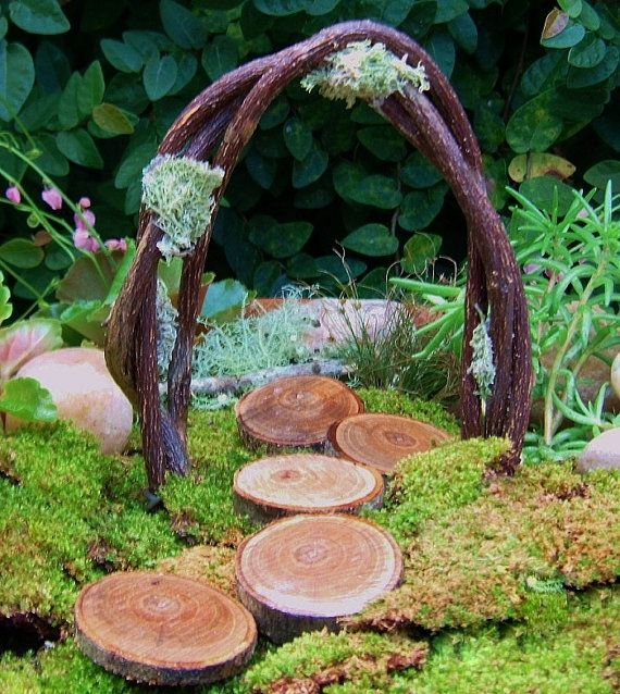 Fairy Garden Arch and Stepping Stones, Miniature Garden Arch, Woodland Wedding Arch, Miniature, Fairy Garden, Woodland Wedding via Etsy