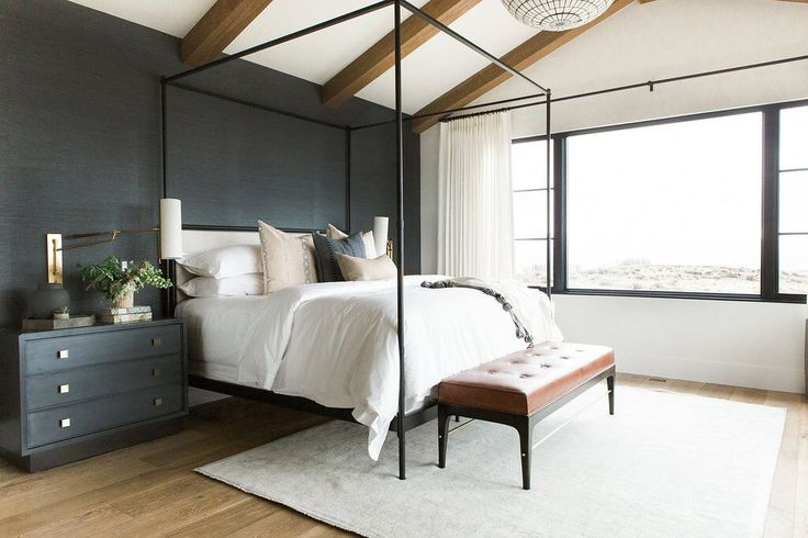 27Master+bedroom+in+blue+grasscloth+wallpaper,+statement+chandelier,+and+leather+bench.jpeg