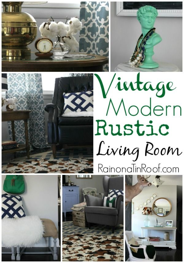 Vintage Modern Rustic Living Room {What's Your Style Series}   Rug Giveaway (David Bust in pistachio green) Great blog too! :)