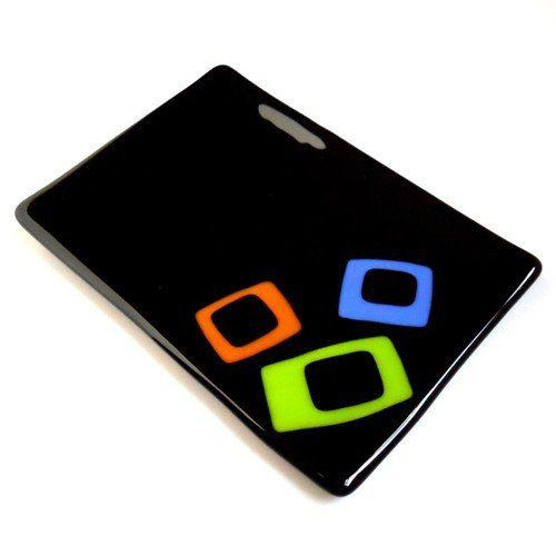 Fused Glass Plate - 5 x 7 Inch Black with Green, Orange, Blue Squares