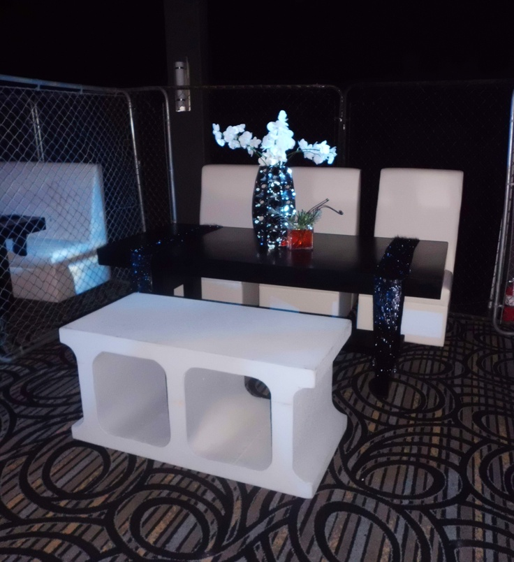 Table And White Chairs By Amoah Ulzen Asiedua Furniture Rental. Chain Link  Fences And Cinder Block Benches By Max King Events!