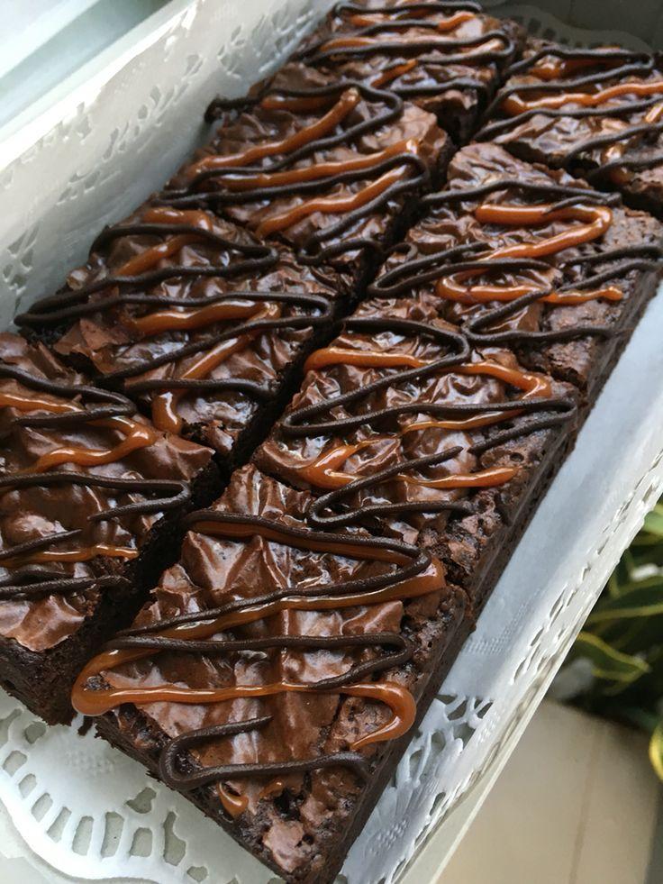 Fudgy brownies with salted caramel and dark choc ganache.. #DGinukz