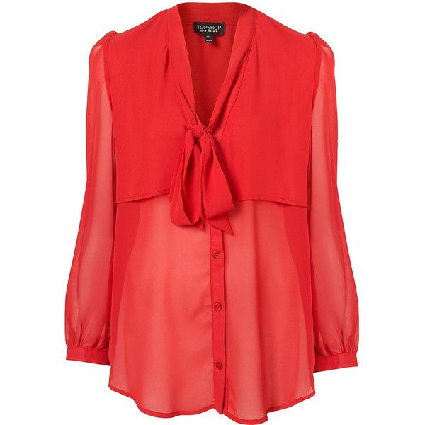 TOPSHOP Cape Pussybow Blouse ($50) ❤ liked on Polyvore featuring tops, blouses, shirts, red, topshop, red long sleeve top, bow neck blouse, red polyester shirt, red long sleeve shirt and long sleeve blouse
