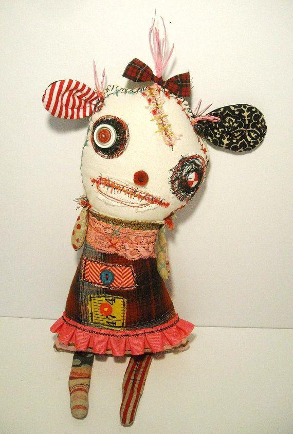 Handmade Art Doll Monster FeFe Fezziwig by JunkerJane on Etsy
