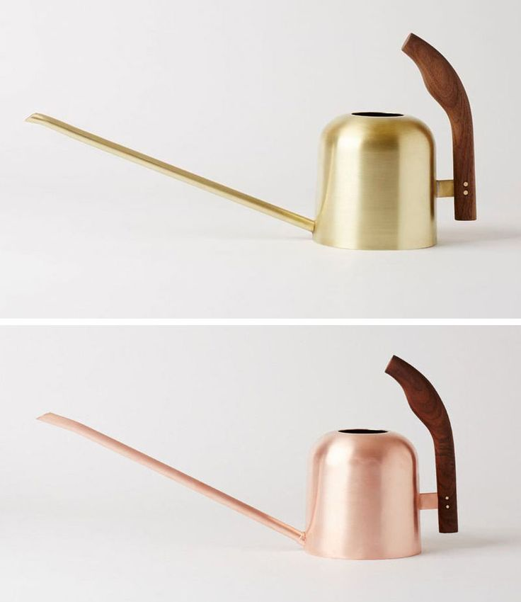 The long spouts on these modern metallic watering cans make them perfect for hard to reach plants, and they spruce up your decor when not in use.
