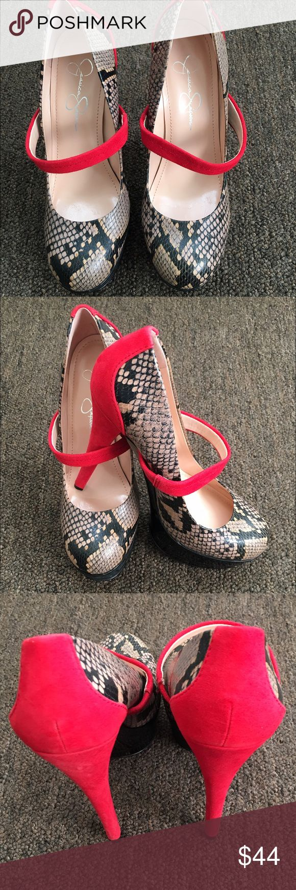 Jessica Simpson 'Cheetah' Heels - Size 7M Jessica Simpson 'Cheetah' Heels - Size 7M -- Color: Red Suede/Black/Nude Snakeskin -- In great condition and ready to be shipped. Jessica Simpson Shoes Heels