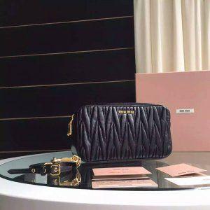 Miu Miu 2016 Little Bags Cheap Sale- Miu Miu Matelasse Little Bag in Noir Leather