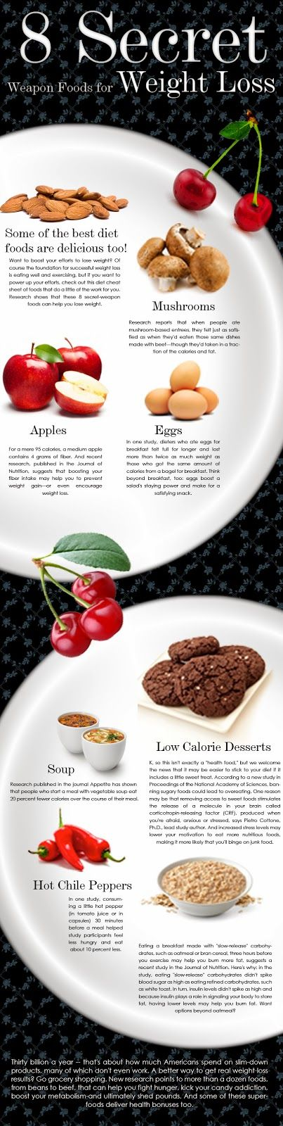 Weight Loss Foods - 8 Secret Weapon Foods [Infographic] to naturally lose weight