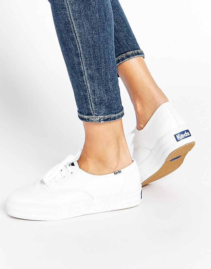 Image 1 of Keds Champion White Triple Leather Flatform Sneakers