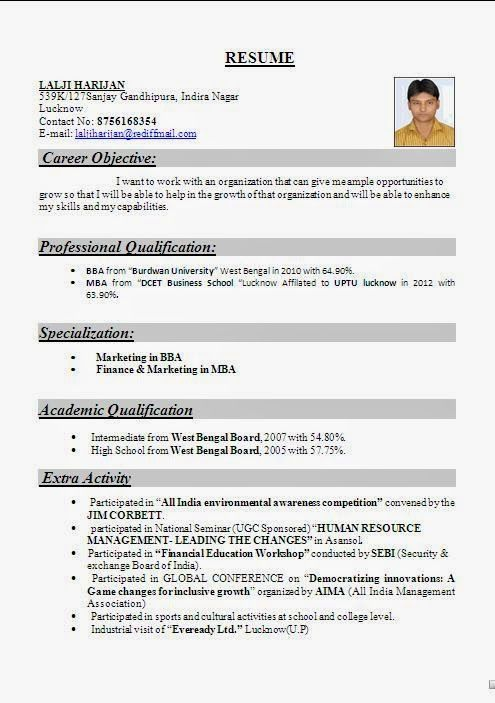 free sample resumes for freshers