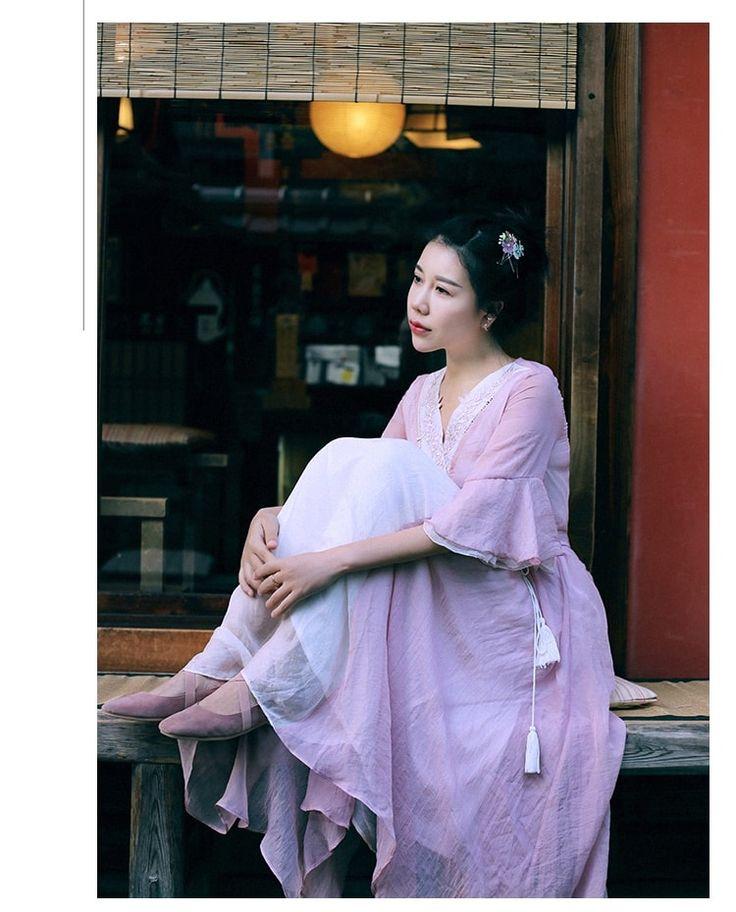 MAI XU Retro Style Pink Dress