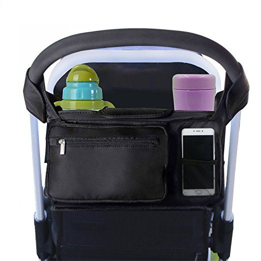 Stroller Organizer Black, ProCIV Universal Baby Stroller Bag Fits All Strollers Premium Deep Insulated Stroller Cup Holders Extra-Large Storage Space for iphones Diapers Cups Toys