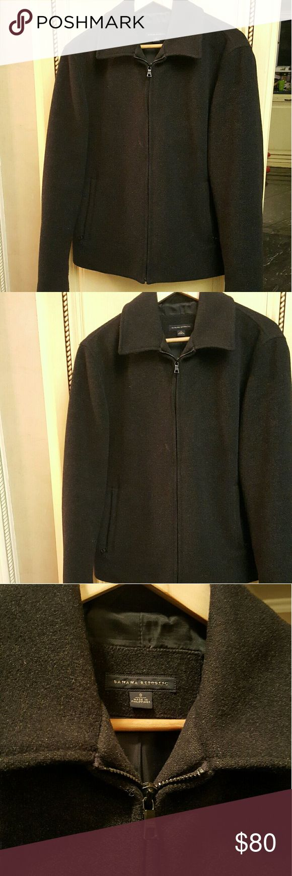 SALE! MENS- Banana Republic Pea coat Mens banana Republic Black Pea coat with 2 zippers pockets in great condition  **2-7bin (storage note to self) Banana Republic Jackets & Coats Pea Coats